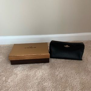 Coach Black Leather Small Cosmetic Case